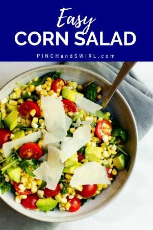 Fresh Corn Salad served in a ceramic bowl