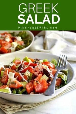 greek salad served in off-white ceramic bowls