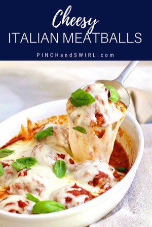 baked italian meatballs served in a ceramic baking dish
