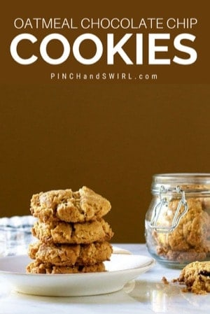 stacked oatmeal chocolate chip cookies