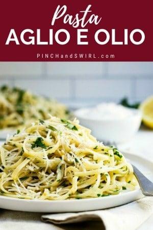 pasta aglio e olio served on a white plate
