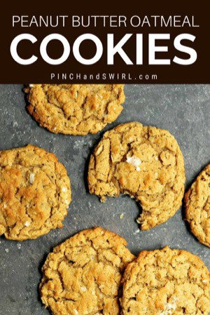 peanut butter oatmeal cookies on a gray slate board