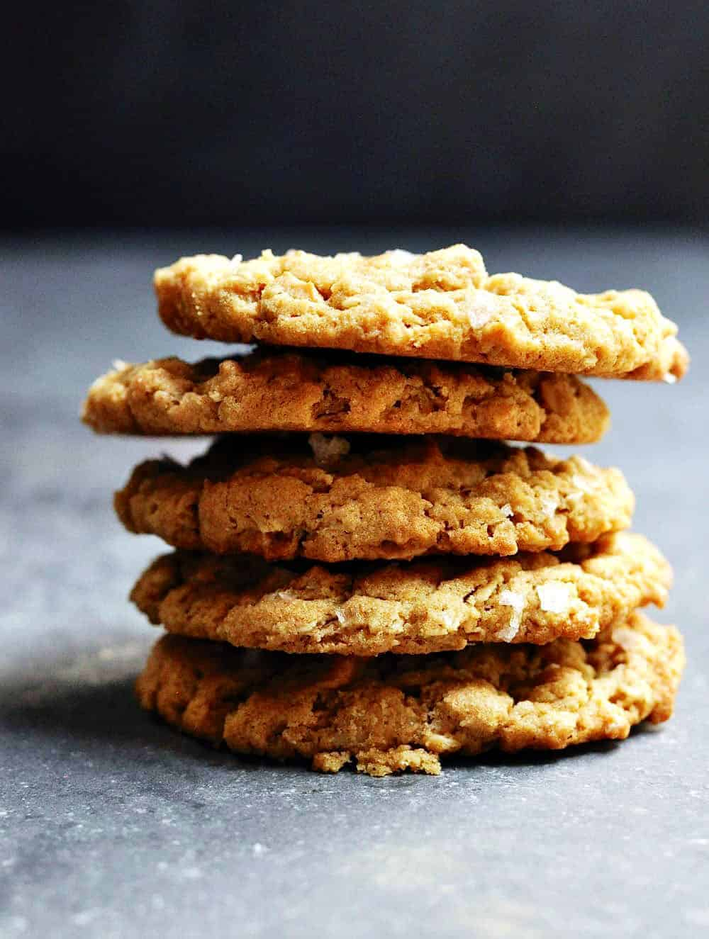 Peanut-Butter-Oatmeal-Cookies-in a stack