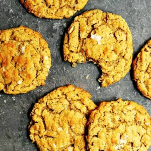 Peanut-Butter-Oatmeal-Cookies served on charcoal platter