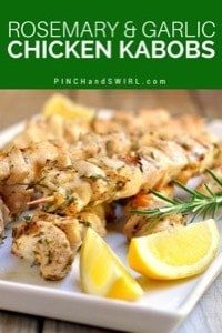 Grilled Chicken Kabobs with Rosemary and Garlic served on a white rectangular platter
