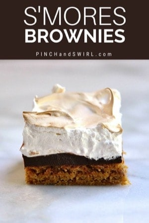 smores brownie on a marble surface