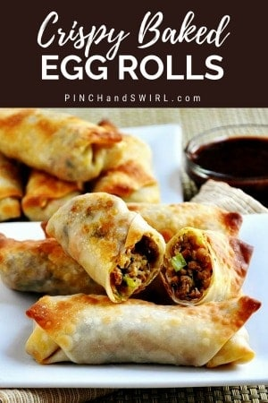 Baked Egg Rolls served on white plates