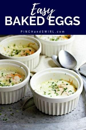baked eggs in white ramekins