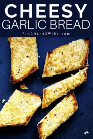 Cheesy Garlic Bread served on a slate tray