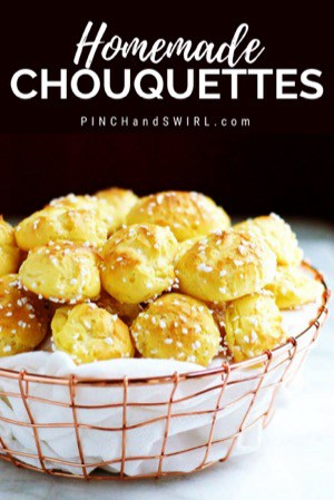 Chouquettes served in a wire basket