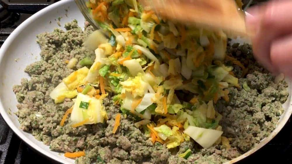 Combining Cooked Cabbage and Pork Mixtures