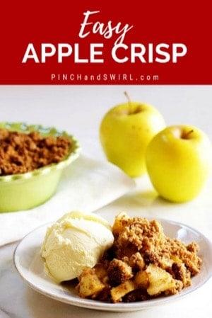 Apple Crisp served with a scoop of vanilla ice cream