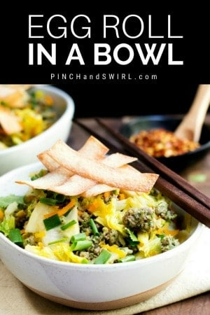 egg roll in a bowl served in ceramic bowls