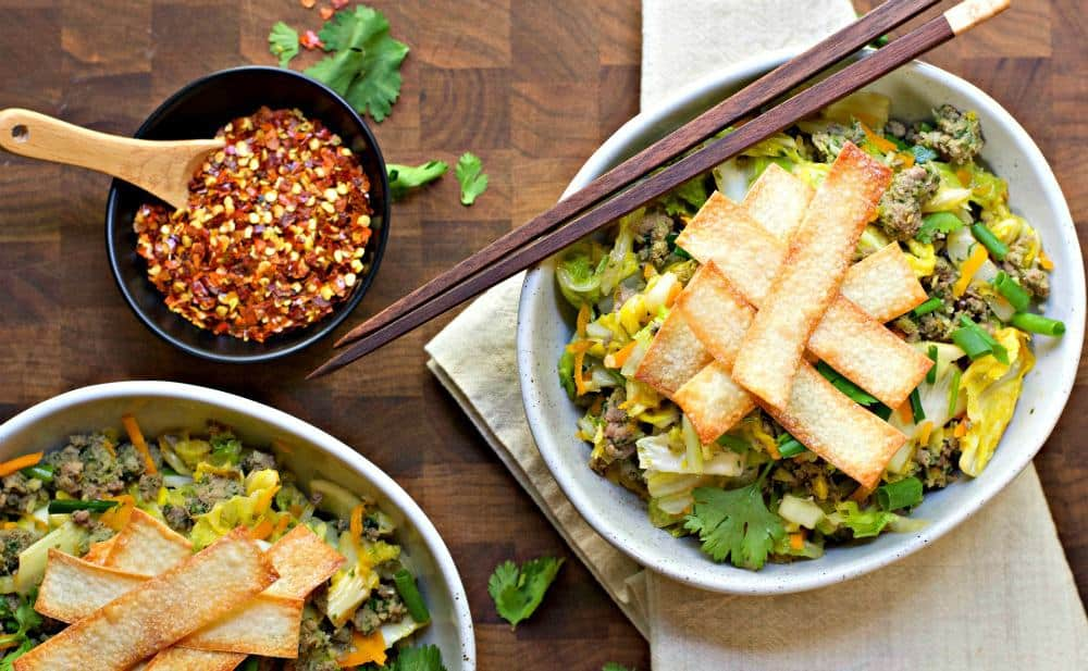 Egg Roll in a Bowl shot from above
