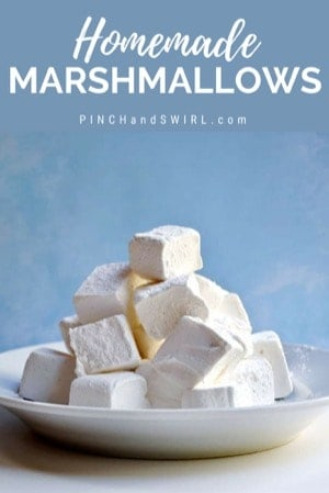 Homemade Marshmallows stacked on a white plate
