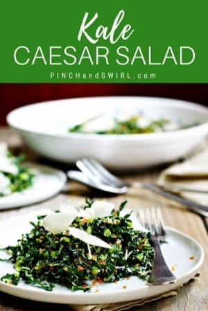 Kale Caesar Salad served on white plates