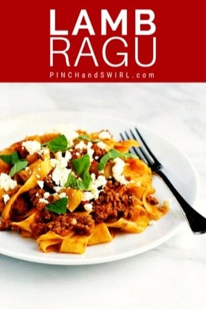 Lamb Ragu with pappardelle served on a white plate