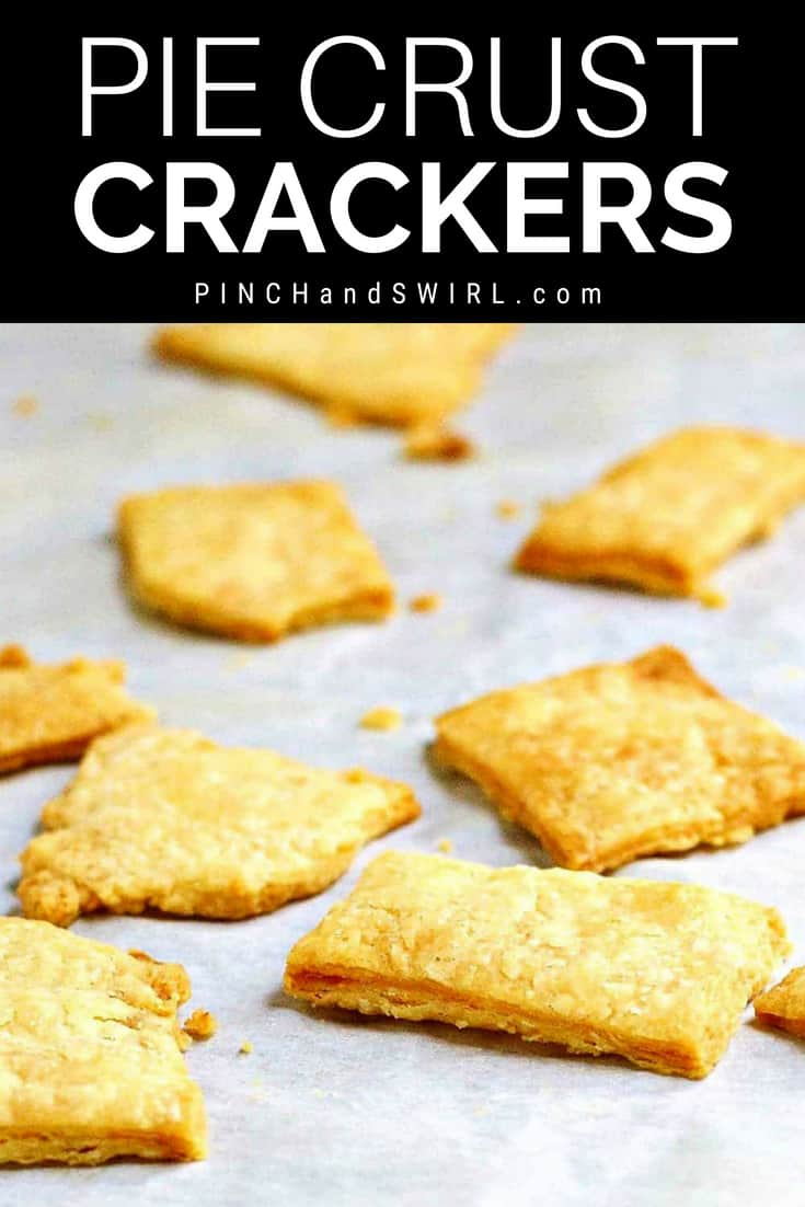 pie crust crackers baked on parchment paper