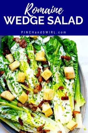 Romaine Wedge Salad served on a gray platter
