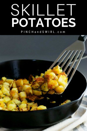 skillet potatoes in a cast iron skillet