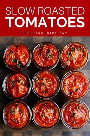 slow roasted tomatoes in small jars