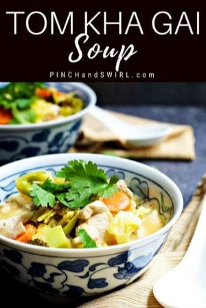 Tom Kha Gai soup served in blue and white bowls