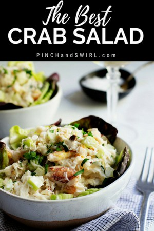 crab salad served in a light gray ceramic bowl