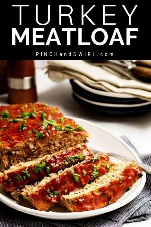 turkey meatloaf sliced and served on a white platter