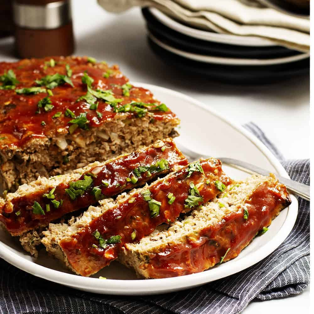 Turkey Meatloaf Sliced on a White Platter