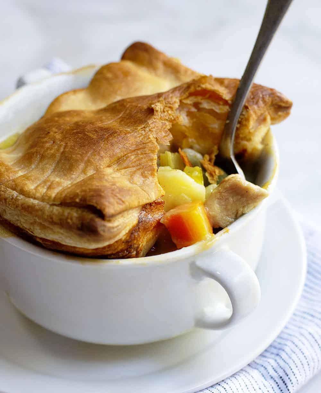 Turkey Pot Pie in a white bowl