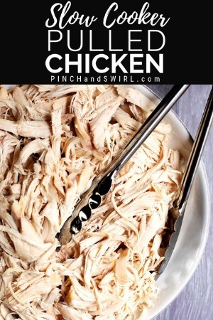 slow cooker pulled chicken served in a white bowl