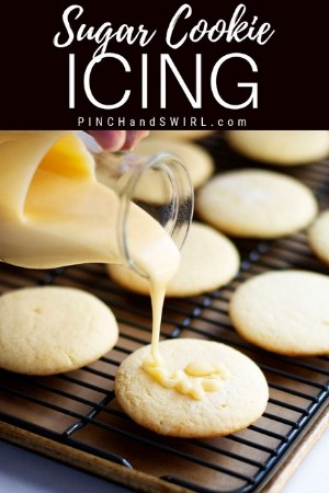 pouring sugar cookie icing over soft sugar cookies
