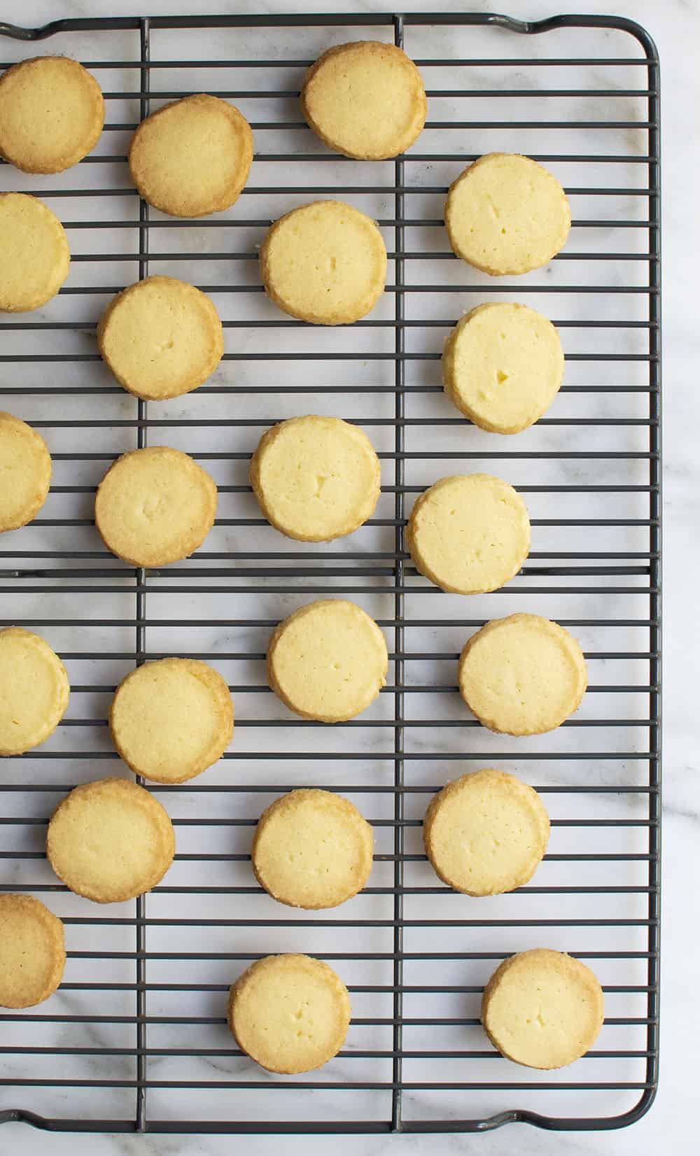 baked butter cookies on cooling rack