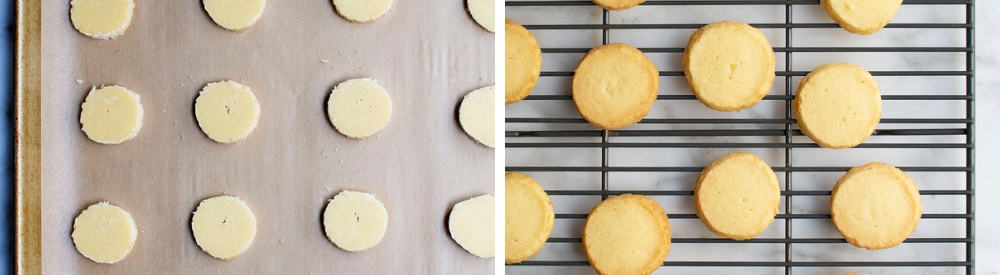 ready to bake and cooling butter cookies images side by side