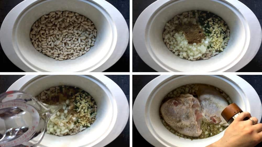 assembling white chicken chili in slow cooker