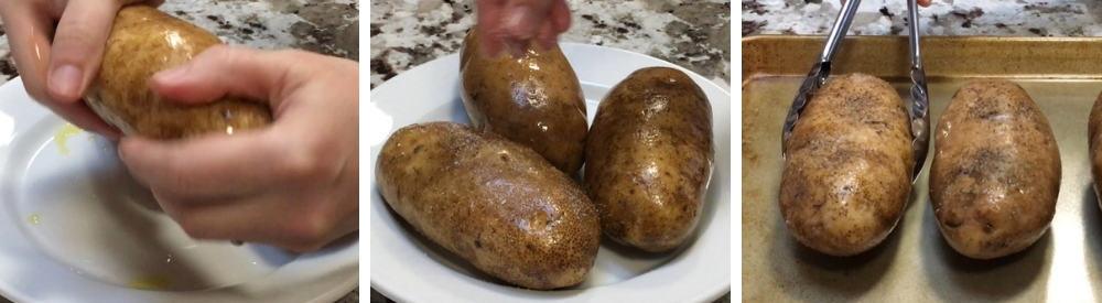 preparing baking potatoes