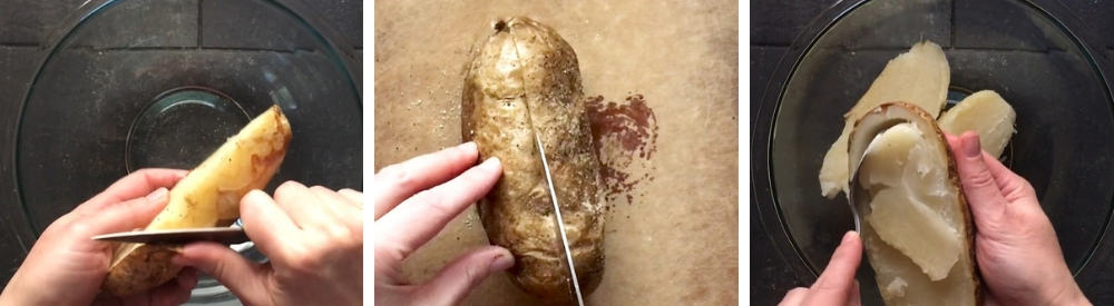 scooping pulp out of baked potatoes to make twice baked potatoes