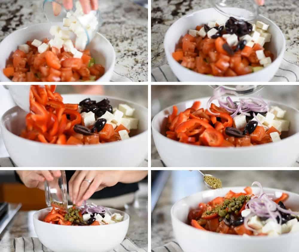 Adding Individual Ingredients to Greek Salad