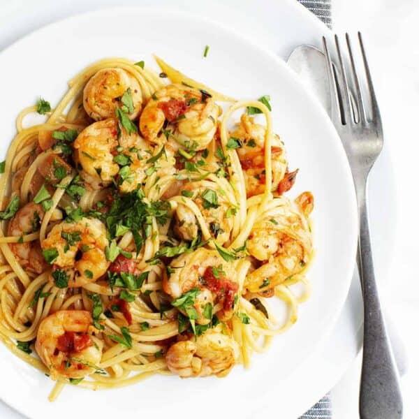 Shrimp Fra Diavolo served on a white plate