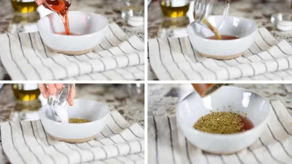 adding greek salad dressing ingredients to bowl