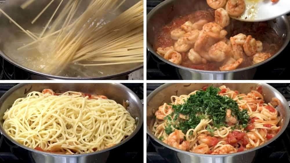 combining shrimp fra diavolo ingredients