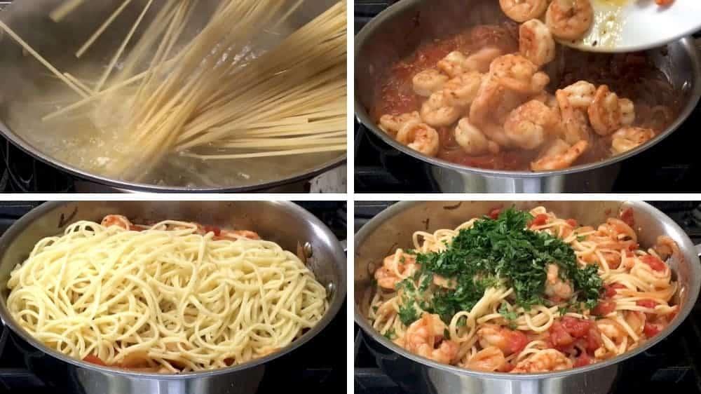 combining shrimp fra diavolo ingredients