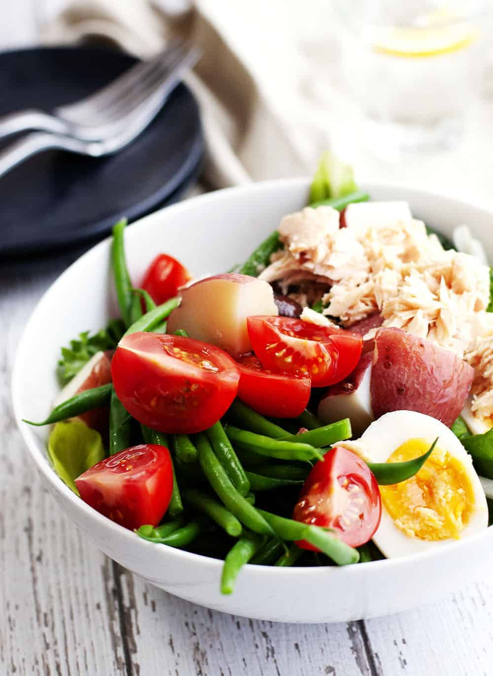 Nicoise Salad served in a white bowl