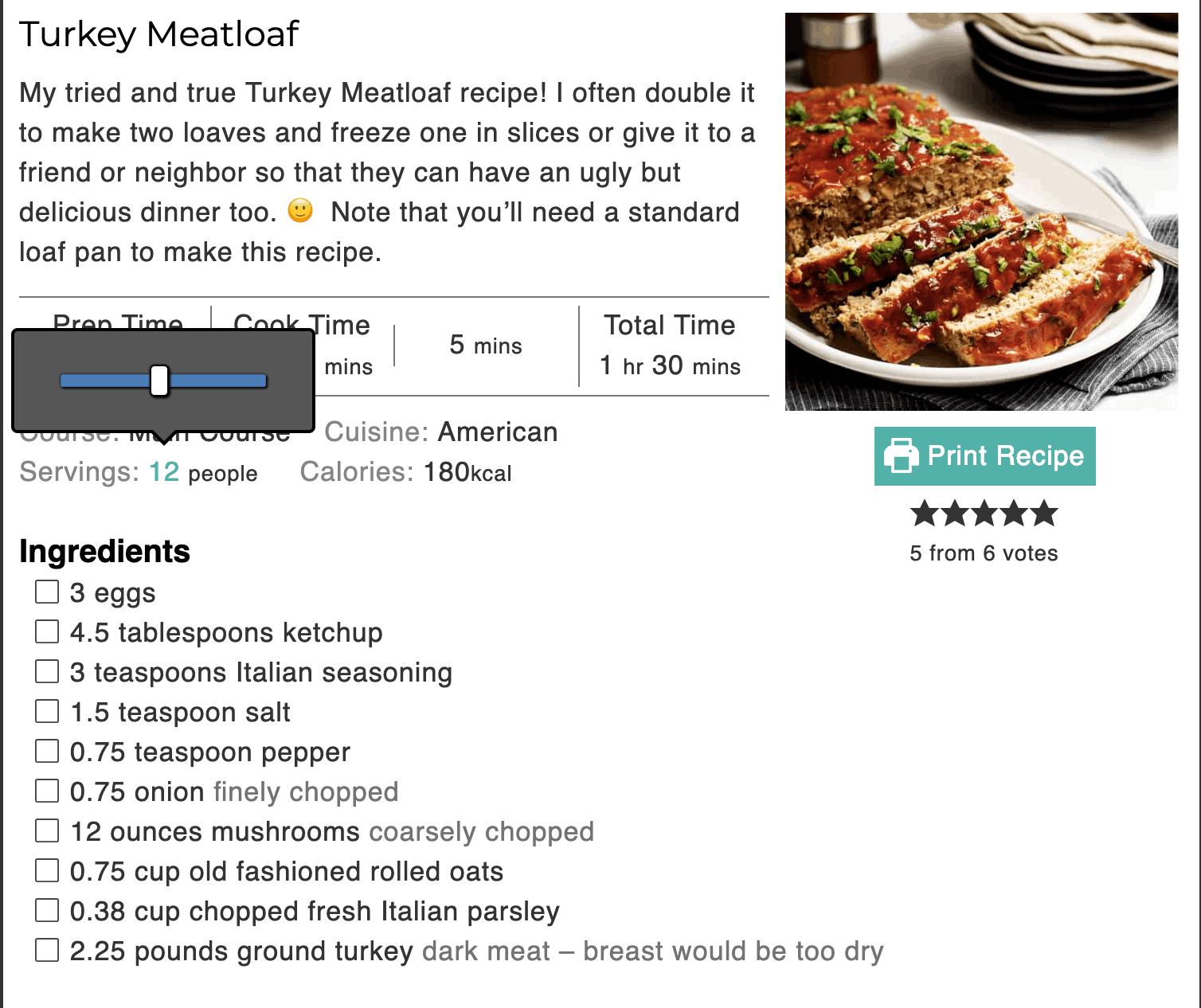 Turkey Meatloaf ingredient amounts for 2 1-pound loaf pans