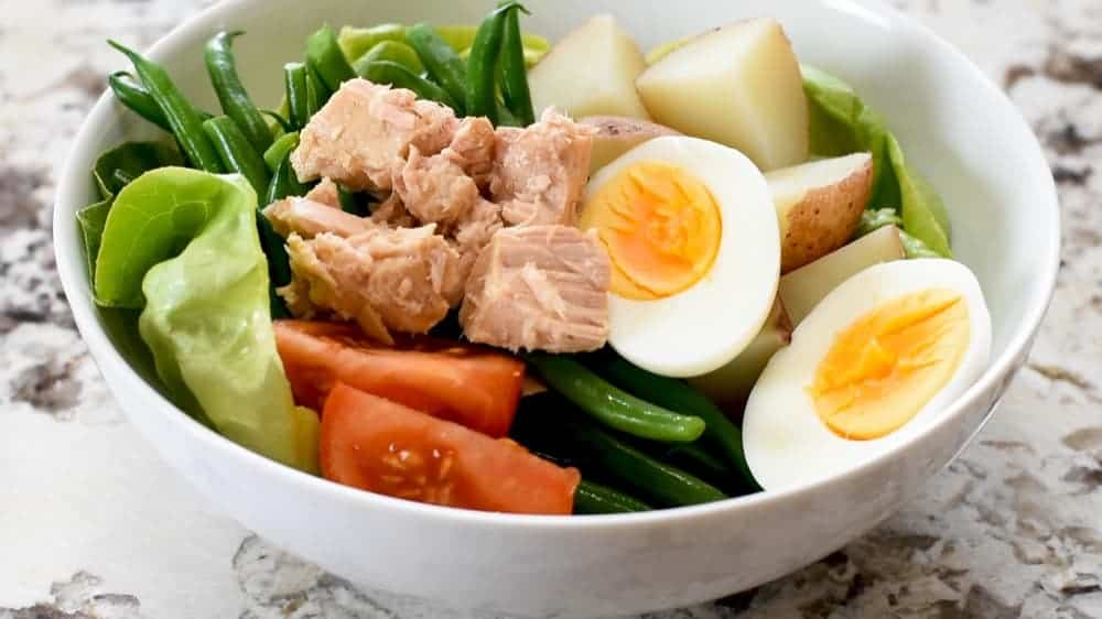 nicoise salad ready to dress