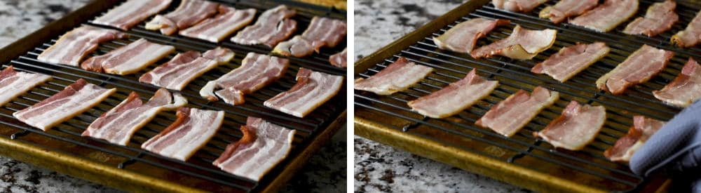 raw and partially cooked bacon slices