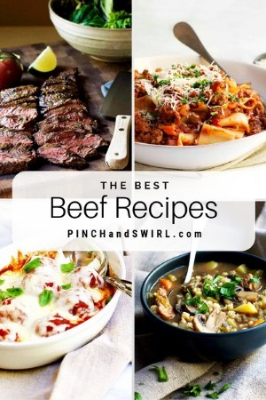 grid of beef recipe images