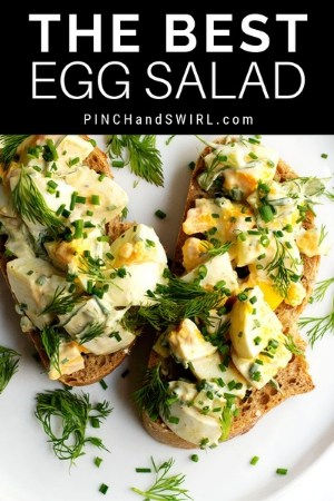egg salad served open faced on bread slices