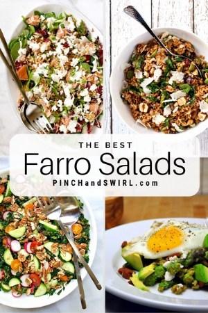 grid of farro salad images