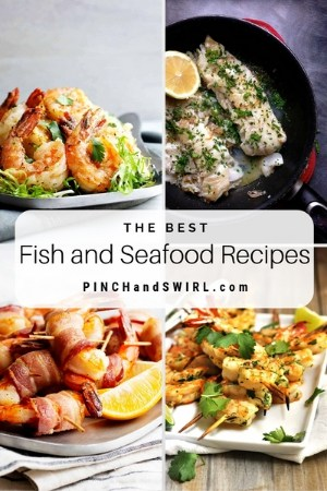 grid of healthy fish and seafood images